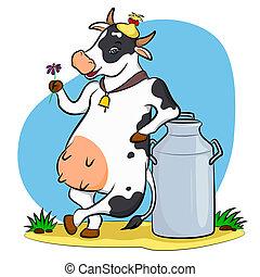 vaca leite, lata
