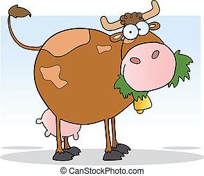 vaca, mascar, pasto o césped, granja, lechería