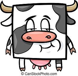vaca, quadrado, caricatura, ilustração