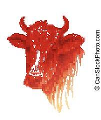 vaca, rosto, fundo, desenhado, branca, mão