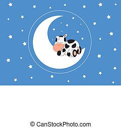 vaca, sueño, en, la luna