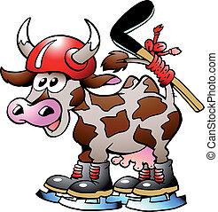 vaca, vaca, jogando hockey, desporto