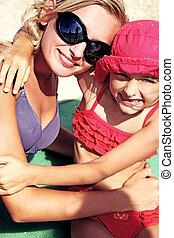 vacaciones, día, de, un, lindo, rubio, niña, con, hermana