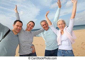 vacaciones de familia, en la playa