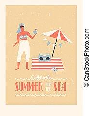 vacaciones del verano, ilustración
