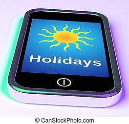 vacaciones, en el teléfono, medios, vacaciones, licencia, o,...