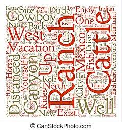 vacaciones, en, un, rancho, texto, plano de fondo, palabra, nube, concepto