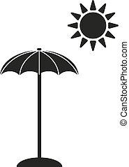 vacaciones, icon., parasol, símbolo., plano
