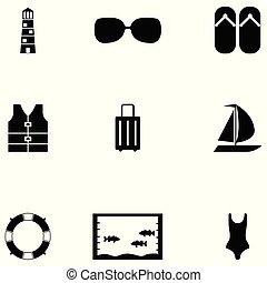 vacaciones, icono, conjunto