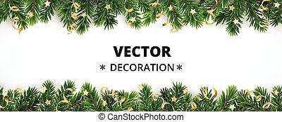 vacaciones invierno, fondo., frontera, con, árbol de...