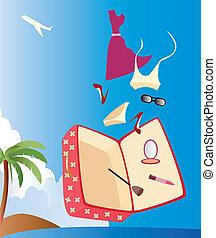 vacaciones, mujer, maleta