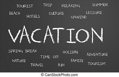 vacaciones, palabra, nube
