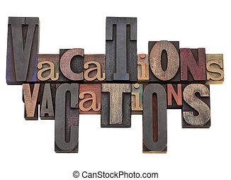 vacaciones, palabra, resumen