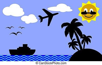 vacaciones, plano de fondo, themed