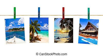 vacaciones, playa, fotografía, en, clothespins