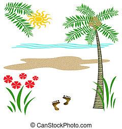 vacaciones, playa, trópico