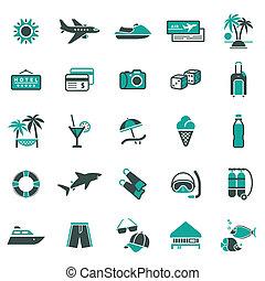 vacaciones, recreación, signs.