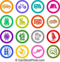 vacaciones, recreación, y, viaje, iconos, conjunto
