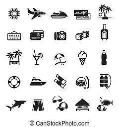 vacaciones, recreatio, viaje, signs., y