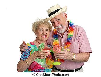 vacaciones, seniors, con, cócteles