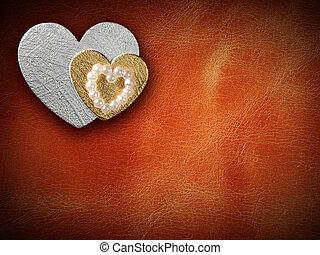 vacaciones, tarjeta, con, corazón, como, un, símbolo del amor