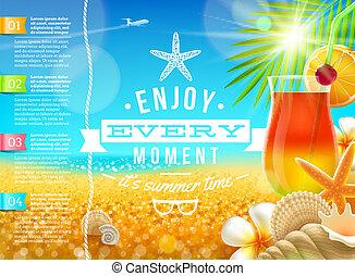 vacaciones, viaje, y, días de fiesta de verano, vector,...
