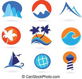 vacaciones, viaje, y, feriado, iconos