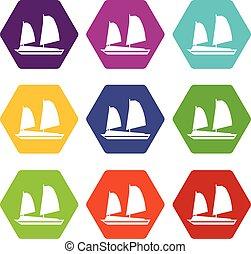 vacak, állhatatos, vietnami, szín, hexahedron, csónakázik, ikon