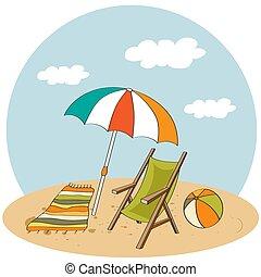 vacances, été, affiche, plage, scene.