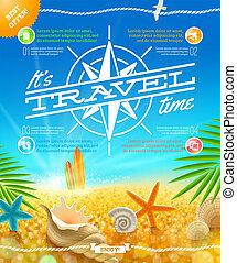 vacances été, fetes, vecteur, conception, voyage
