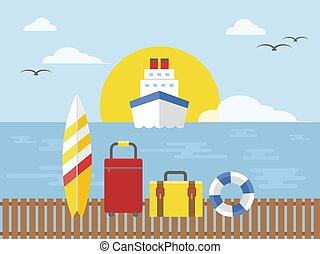 vacances été, illustration, vecteur, bateau croisière, voyage