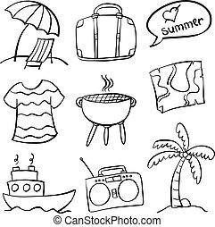 vacances été, plage, griffonnage
