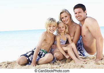 vacances été, plage, portrait famille