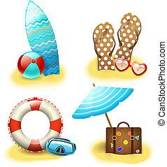 vacances été, vacances, collection, accessoires