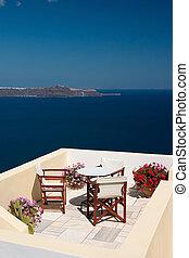 vacances, balcon, vue
