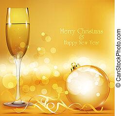vacances, balles, année, vecteur, fond, nouveau, lunettes champagne