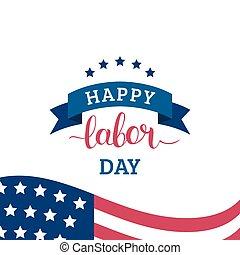 vacances, card., usa, fête, flag., national, illustration, main-d'œuvre, américain, vecteur, affiche, main, lettering., jour, heureux