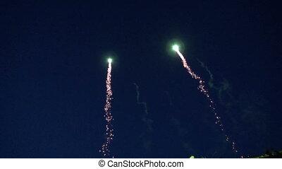 vacances, ciel nuit, feux artifice