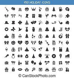 vacances, collection, icônes