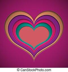 vacances, coloré, formulaire, valentin, coupure, clair, papier, cœurs
