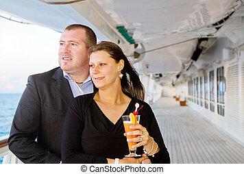 vacances, couple, croisière, apprécier