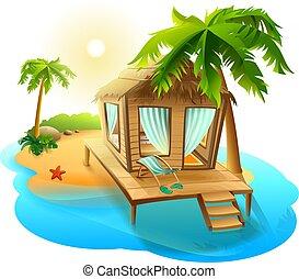 vacances, couvert chaume, hutte, plage,  Bungalow