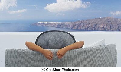 vacances, délassant, voyage, santorini, femme, apprécier