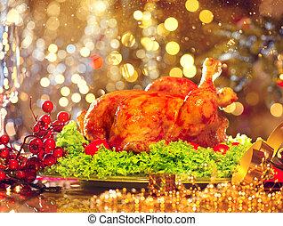 vacances, dîner famille, table, décoré, turkey., noël