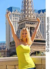 vacances, dans, las, vegas., joyeux, girl, sur, a, fond, de,...