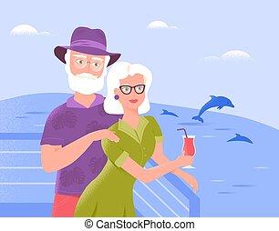 vacances, dolphins., relâcher, billets, spécial, rafraîchissant, brûlé, offres, pont, deux, leisure., bateau, époux, personne agee, vacances, idea., actif, tourisme, sourire, regarder, croisière, boisson, mer