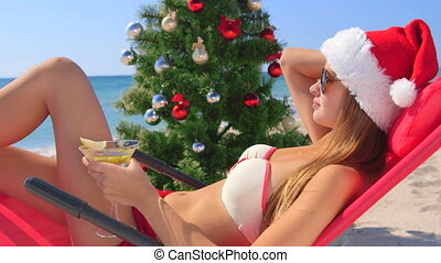 vacances, exotique, santa, girl, plage, noël