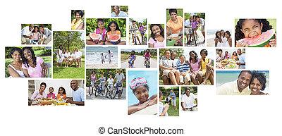 vacances famille, américain, africaine, vacances, heureux