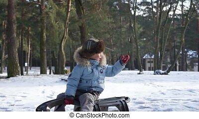 vacances famille, enfants, snow., amusement, actif, noël, sledding