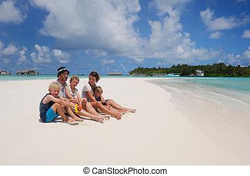 vacances, famille, heureux